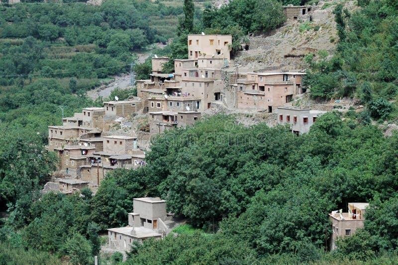 Imlil-Dorf und Tal, hohe Atlas-Berge, Marokko stockfotografie