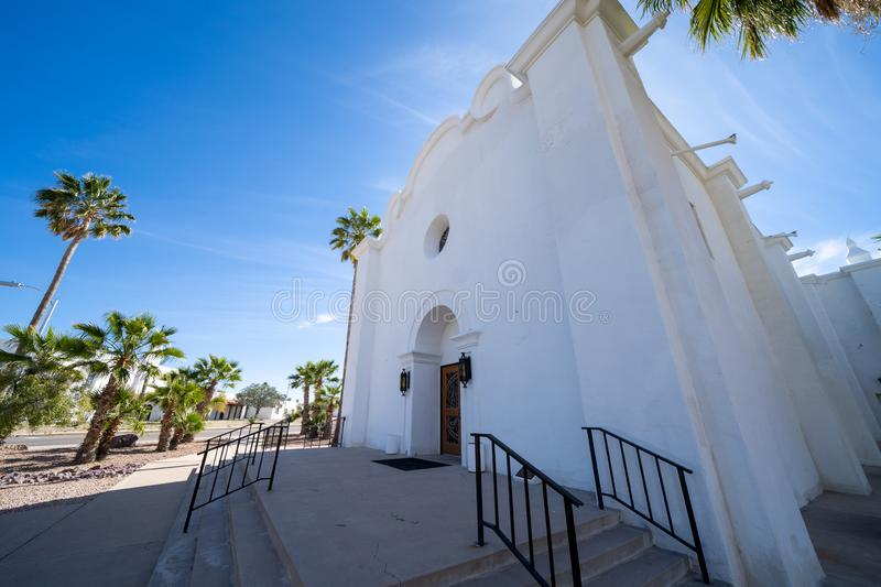 The Immaculate Conception Catholic Church located in Ajo, Arizona. Wide angle view royalty free stock photos