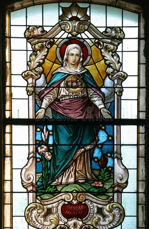 Free Immaculate Heart Of Mary, Stained Glass Window In Church Of The Assumption Of The Virgin Mary In Pescenica, Croatia Royalty Free Stock Image - 185538496