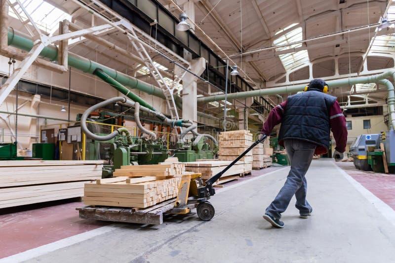 Immagazzini il lavoratore che muove i bordi di legno, fabbrica di elaborazione di legno fotografie stock libere da diritti