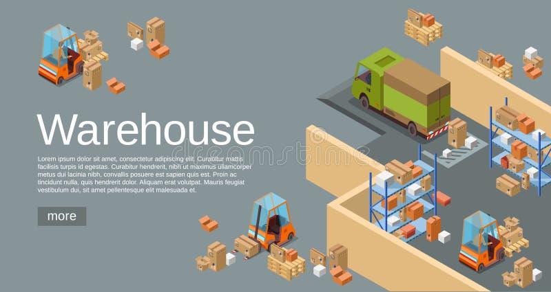 Immagazzini l'illustrazione isometrica di vettore 3D del magazzino e trasporto e la consegna industriali moderni di logistica illustrazione vettoriale
