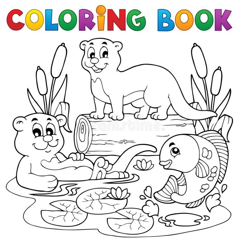 Immagine 3 Di Fauna Del Fiume Del Libro Da Colorare Fotografia Stock Libera da Diritti