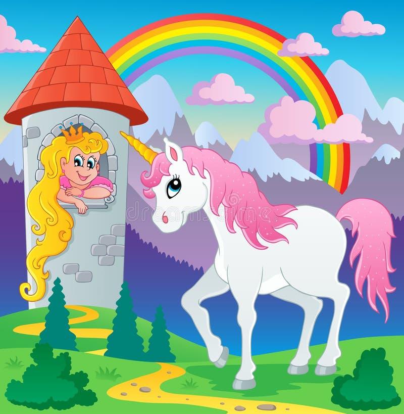 Immagine 3 di tema dell'unicorno di fiaba royalty illustrazione gratis