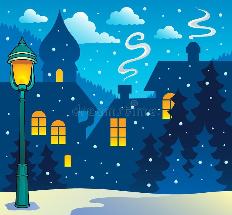 Immagine 3 di tema della città di inverno illustrazione vettoriale