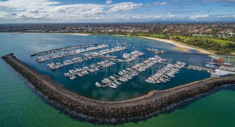 Immagine aerea dell'yacht club di Sandringham fotografie stock libere da diritti