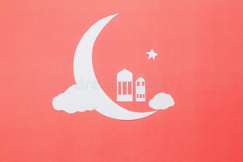 Immagine aerea di vista del piano d'appoggio del fondo di festa di Ramadan Kareem delle decorazioni fotografia stock