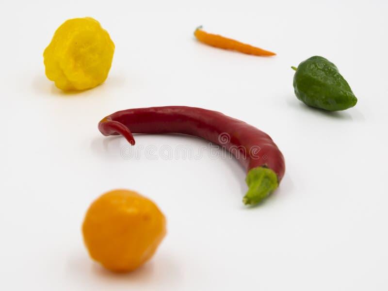 Immagine alta vicina dei peperoni con colore differente fotografia stock libera da diritti