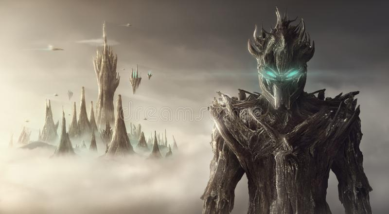 Immagine artistica di fantasia di una creatura illustrazione di stock