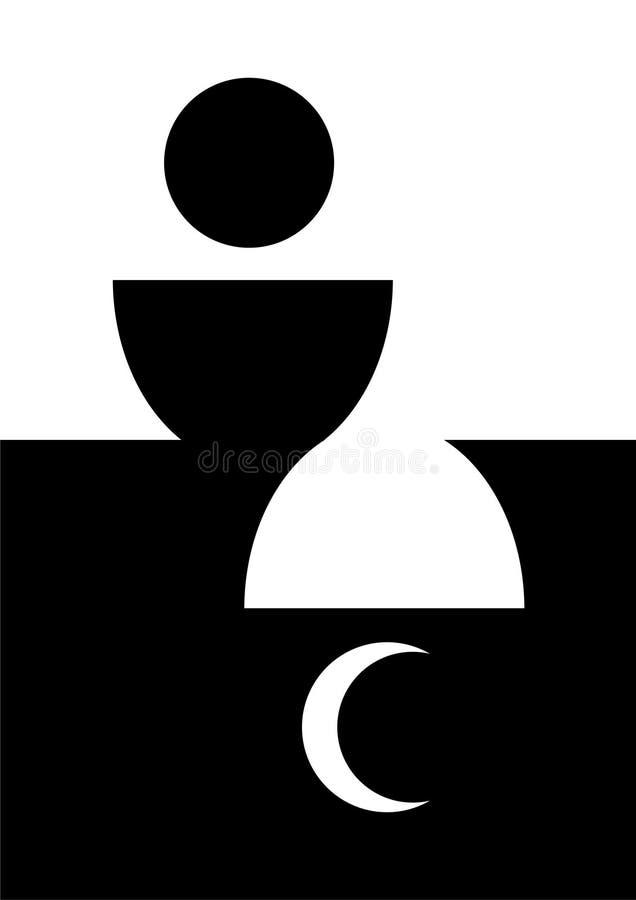 Immagine astratta del calice del pane ospite e dei simboli religiosi illustrazione vettoriale