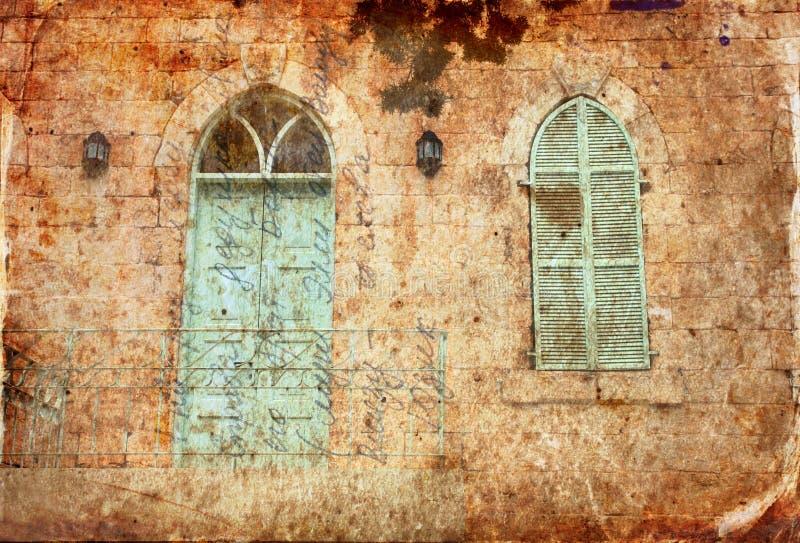 Immagine astratta della parete della vecchia casa dalla pietra di Gerusalemme con il vecchio balcone blu immagine filtrata e stru fotografia stock libera da diritti