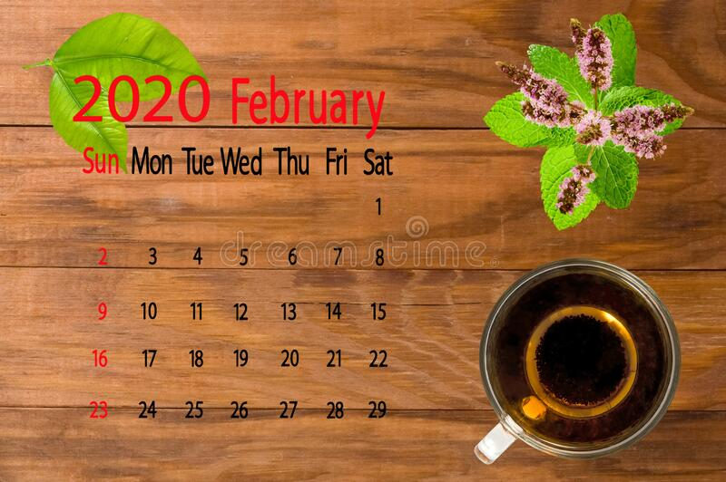 Immagine calendario per febbraio 2020 immagine stock