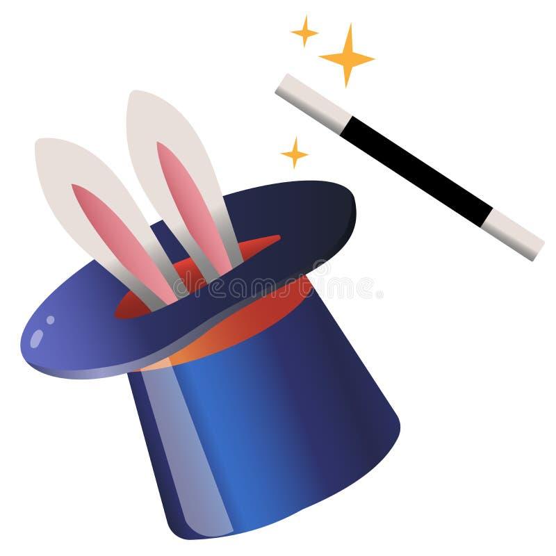 Immagine a colori del cappello con bacchetta magica su sfondo bianco Circus Illustrazione vettoriale per bambini illustrazione di stock