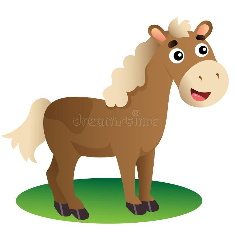 Immagine a colori del cavallo da disegno su fondo bianco Animali da allevamento Illustrazione vettoriale per bambini illustrazione di stock
