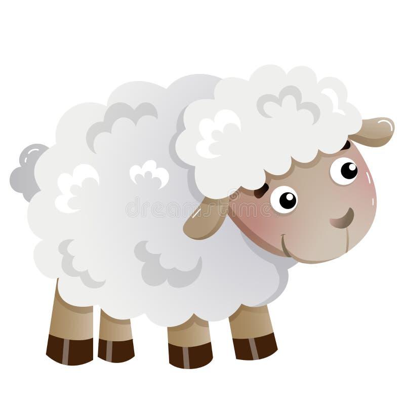 Immagine a colori di una vignetta di pecora in fondo bianco Animali da allevamento Illustrazione vettoriale per bambini illustrazione di stock
