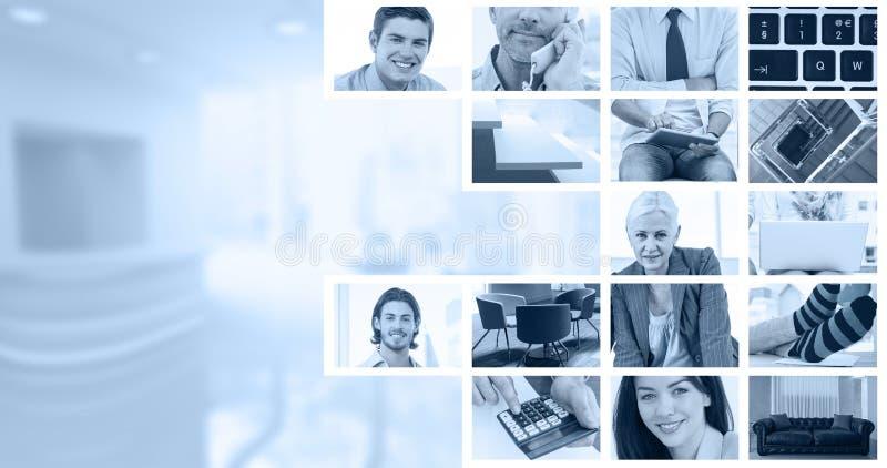Immagine composita degli uomini d'affari facendo uso del computer portatile fotografie stock libere da diritti
