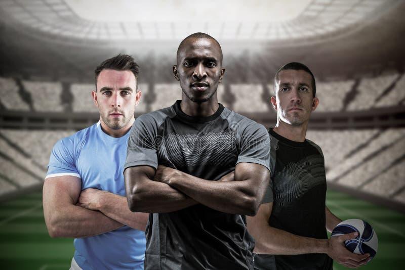 Immagine composita dei giocatori 3D di rugby fotografie stock libere da diritti