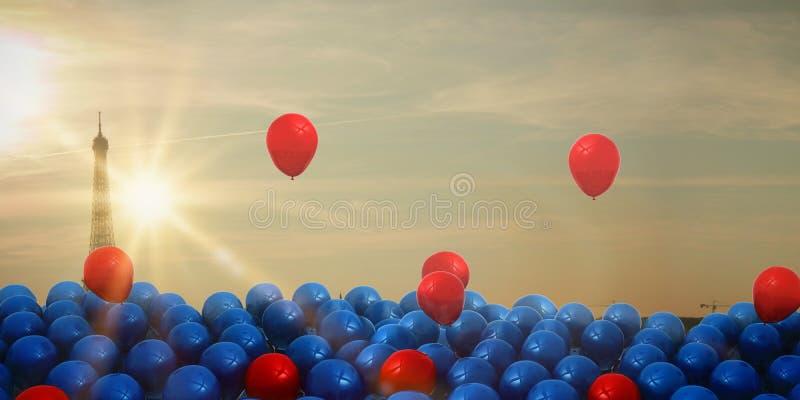 Immagine composita dei palloni rossi e blu royalty illustrazione gratis