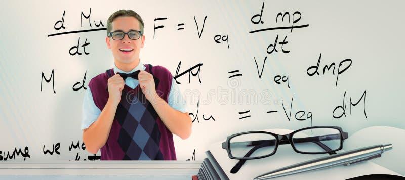 Immagine composita dei pantaloni a vita bassa geeky che ripara il suo farfallino illustrazione di stock
