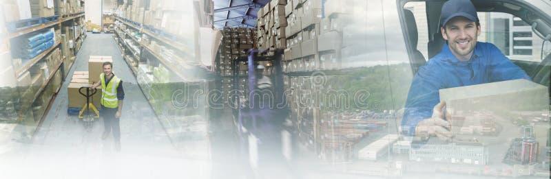 Immagine composita del bacino commerciale dal mare immagini stock libere da diritti