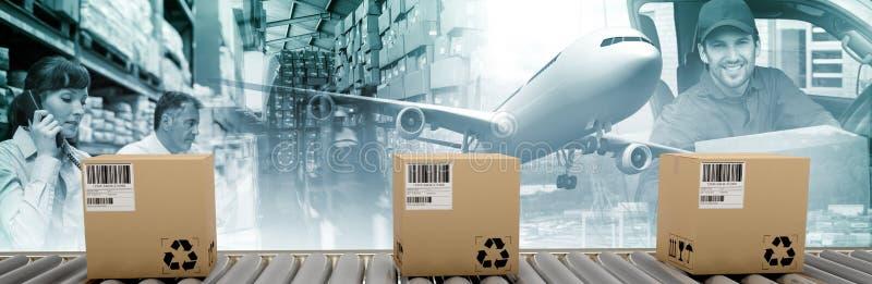 Immagine composita del corriere imballato sul nastro trasportatore immagini stock libere da diritti