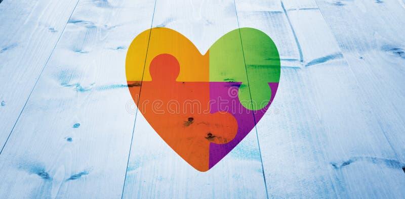 Immagine composita del cuore di consapevolezza di autismo illustrazione di stock