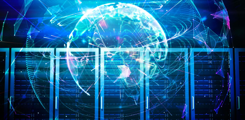 Immagine composita del fondo globale di tecnologia nella porpora illustrazione vettoriale
