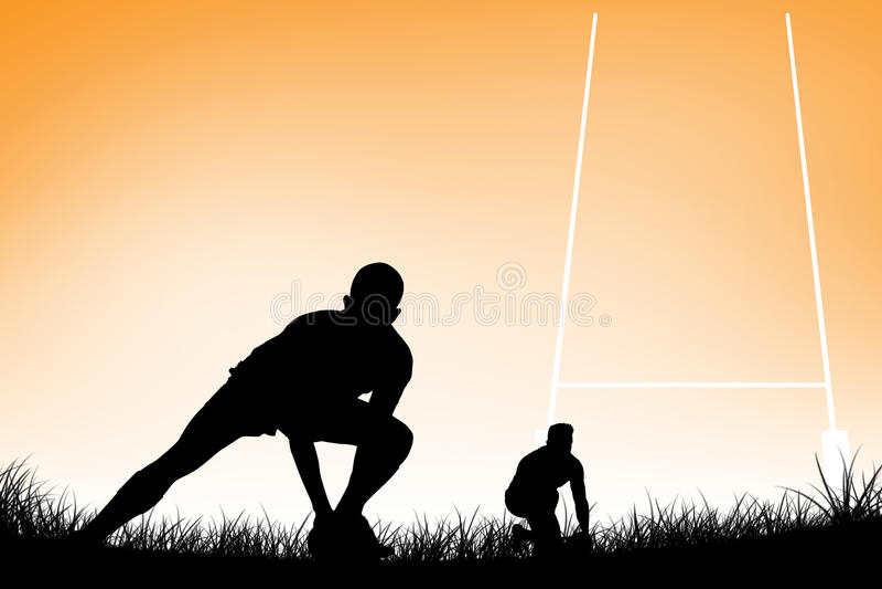 Immagine composita del giocatore di rugby che si prepara per dare dei calci alla palla illustrazione vettoriale
