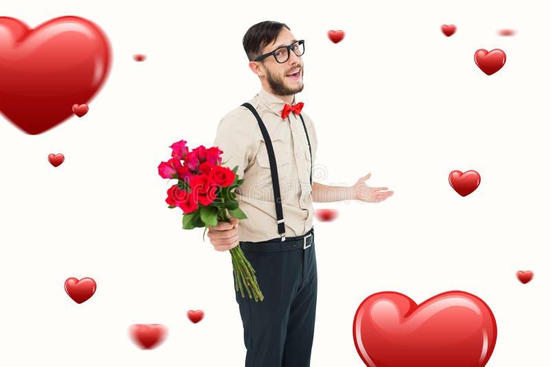 Immagine composita del mazzo d'offerta dei pantaloni a vita bassa geeky di rose immagine stock