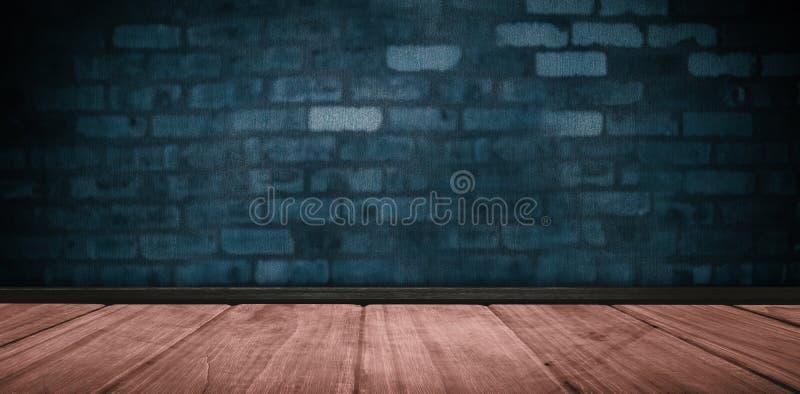 Immagine composita del pavimento e della parete di mattoni di legno illustrazione di stock