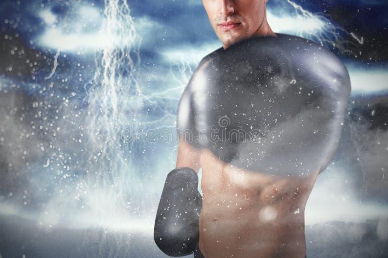 Immagine composita del ritratto del pugile che esegue posizione di pugilato fotografie stock