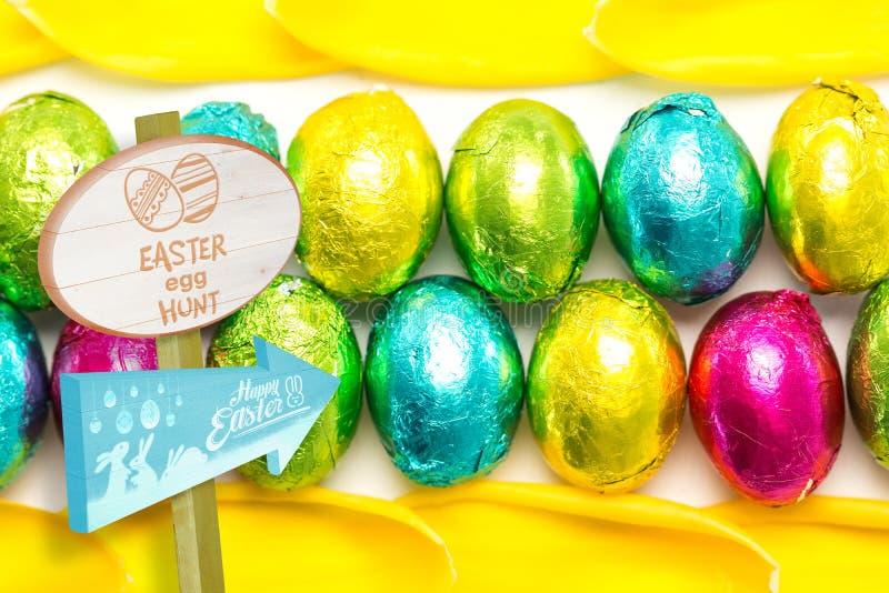 Immagine composita del segno di caccia dell'uovo di Pasqua immagini stock