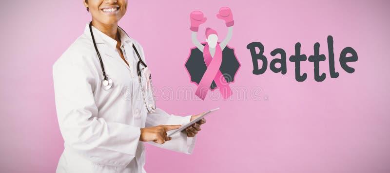 Immagine composita del testo di battaglia con il nastro femminile di consapevolezza del cancro al seno e di somiglianza fotografia stock