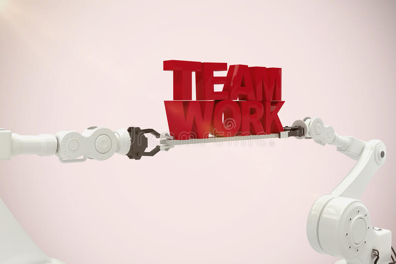 Immagine composita del testo robot bianco del lavoro di gruppo della tenuta della mano contro fondo bianco illustrazione vettoriale