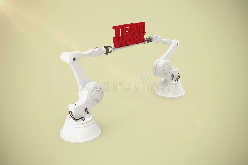 Immagine composita del testo robot metallico del lavoro di gruppo della tenuta della mano sopra fondo bianco illustrazione di stock