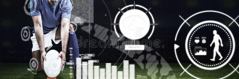 Immagine composita dell'immagine composita digitale del giocatore di rugby che posiziona palla immagini stock libere da diritti