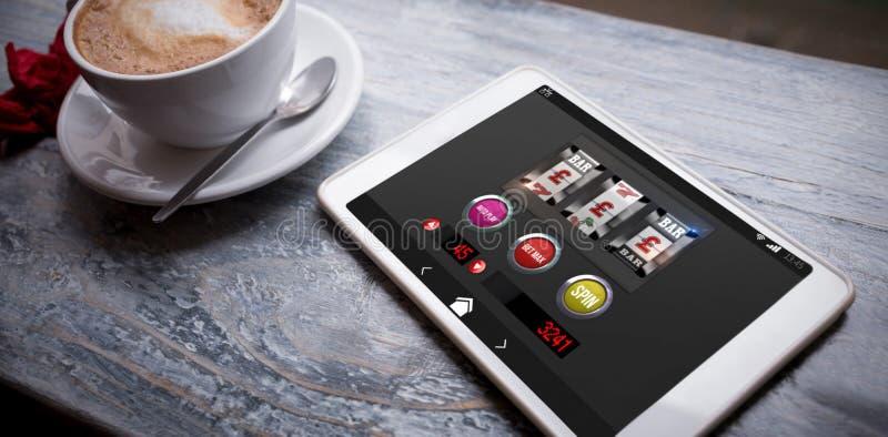 Immagine composita dell'immagine grafica dello slot machine su esposizione mobile fotografia stock