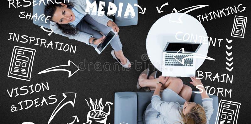Immagine composita dell'immagine composita del processo creativo su fondo bianco illustrazione vettoriale