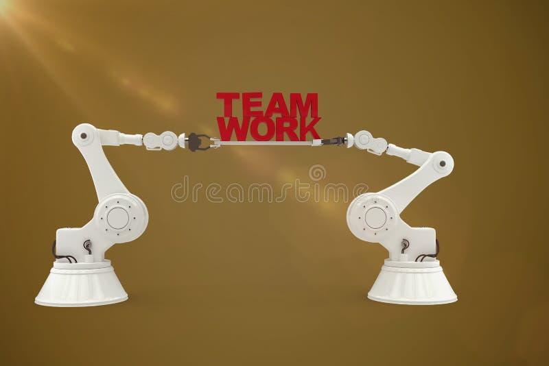 Immagine composita dell'immagine digitalmente composita della mano robot che tiene il testo rosso del lavoro di gruppo illustrazione vettoriale
