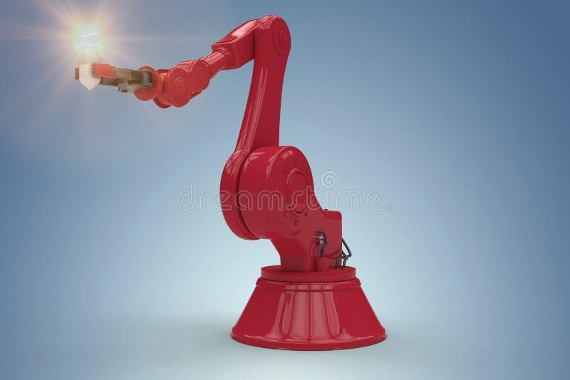 Immagine composita dell'immagine indicativa della mano robot e della lampadina 3d illustrazione di stock