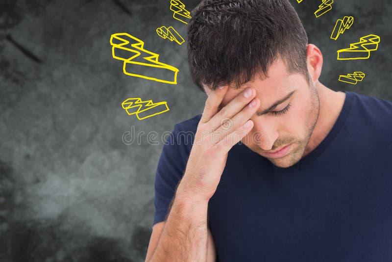 Immagine composita dell'uomo con l'emicrania illustrazione di stock
