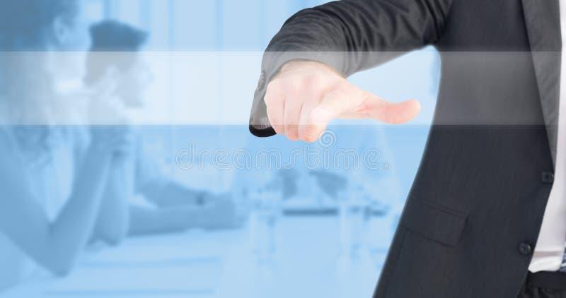 Immagine composita dell'uomo d'affari che indica con il suo dito immagini stock