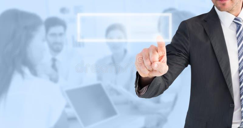 Immagine composita dell'uomo d'affari che indica con il suo dito fotografie stock