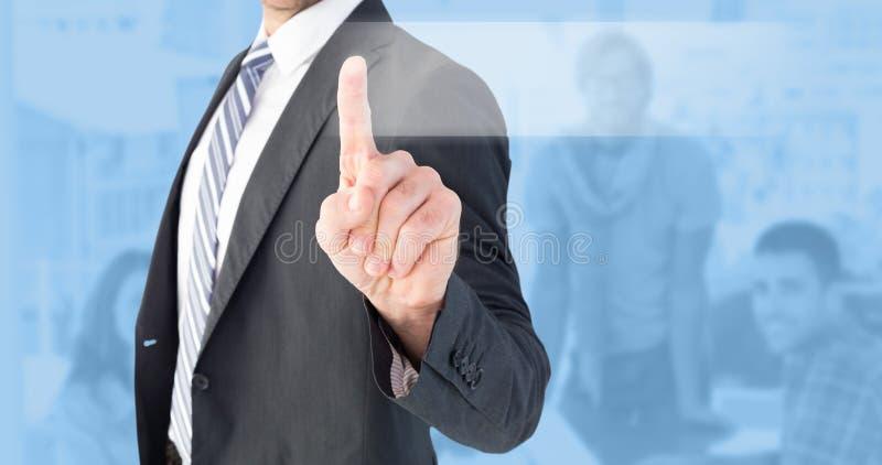 Immagine composita dell'uomo d'affari che indica con il suo dito fotografia stock libera da diritti