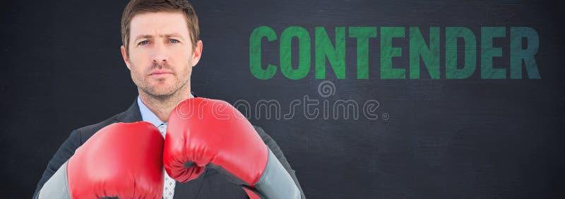 Immagine composita dell'uomo d'affari con i guantoni da pugile immagini stock