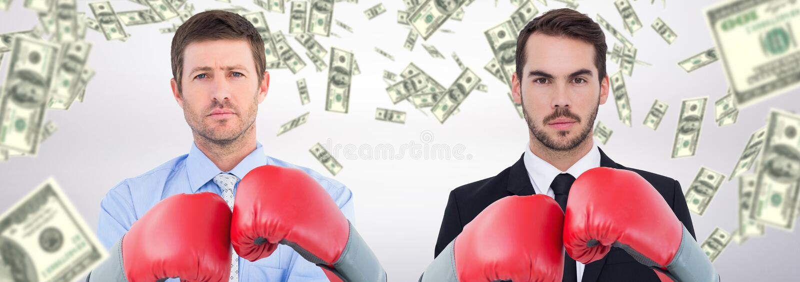 Immagine composita dell'uomo d'affari con i guantoni da pugile fotografia stock