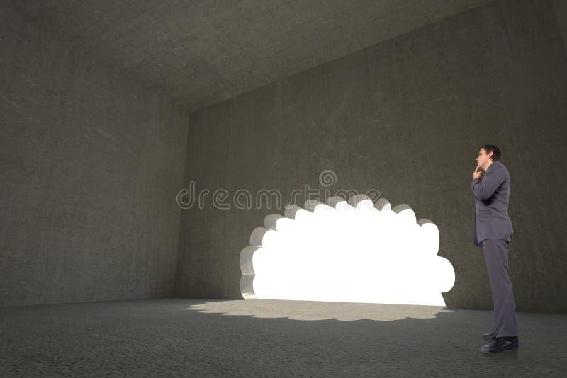 Immagine composita dell'uomo d'affari di pensiero con la mano sul mento fotografie stock libere da diritti