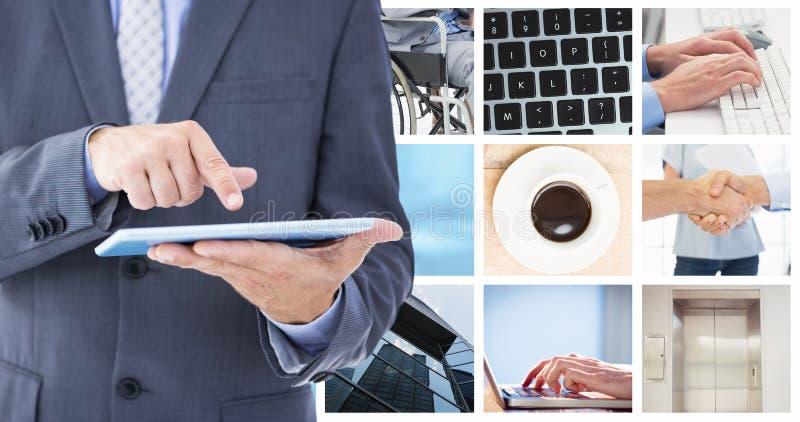 Immagine composita dell'uomo d'affari facendo uso del pc della compressa immagine stock
