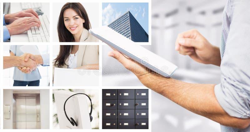 Immagine composita dell'uomo d'affari facendo uso della compressa digitale sopra fondo bianco fotografia stock