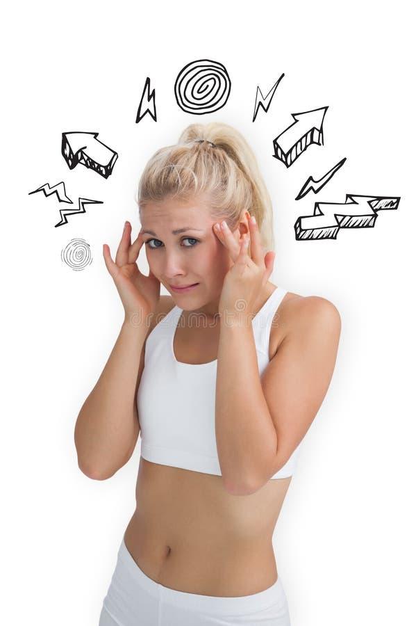 Immagine composita della bionda con l'emicrania illustrazione vettoriale