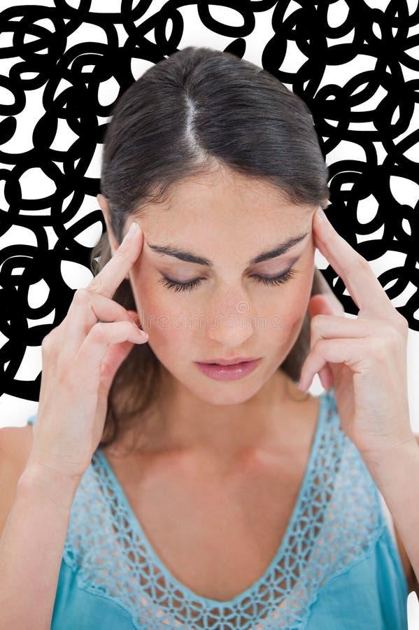 Immagine composita della donna con l'emicrania illustrazione vettoriale